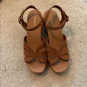 Brown strappy wedges/ platform sandals